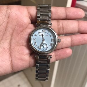 Mk Watch blue face with diamonds
